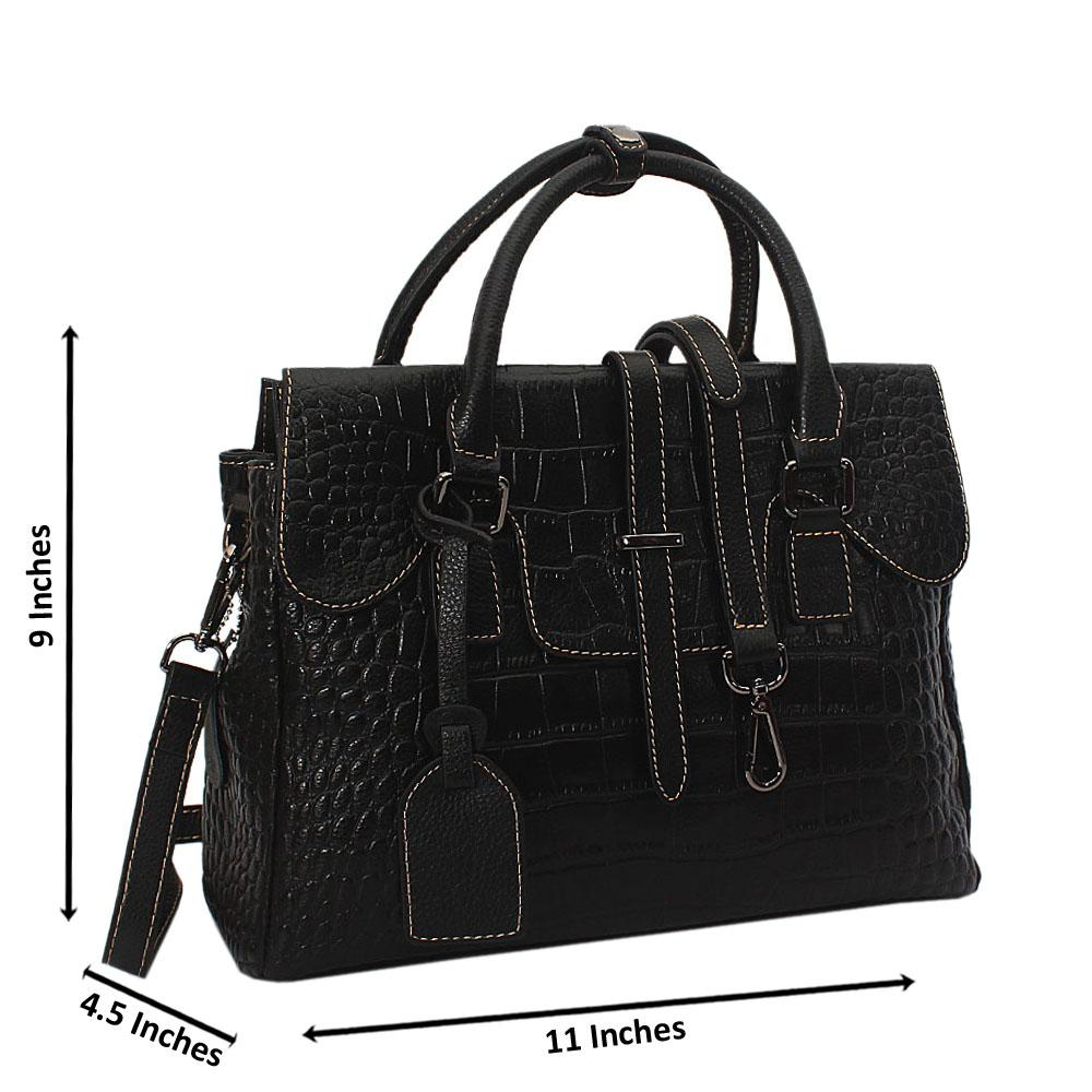 Shelly Black Croc Cowhide Leather Small Tote Handbag