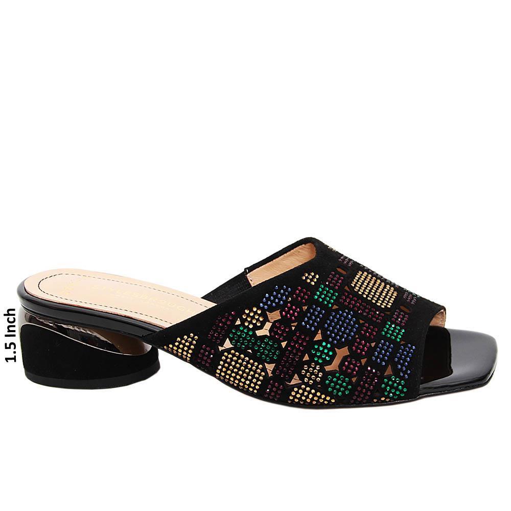 Black Juana Studded Suede Tuscany Leather Mid Heel Mule