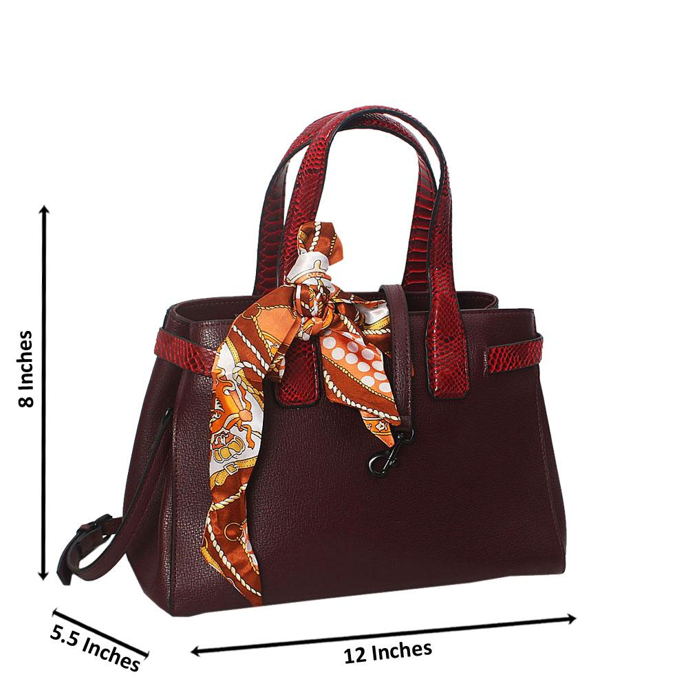 Divya Wine Red Embossed Python Tote Handbag