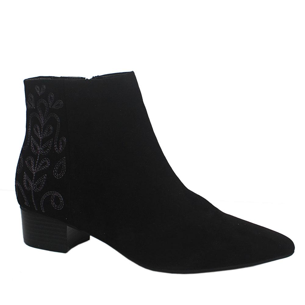 Sz-395-M-n-S-Black-Insolia-Suede-Leather-Ladies-Ankle-Shoe