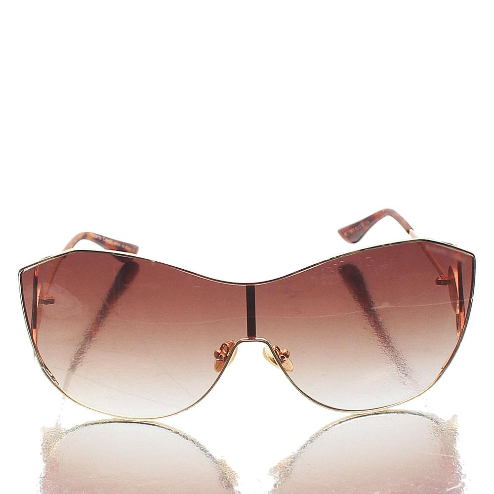 Gold Brown Shield Sunglasses