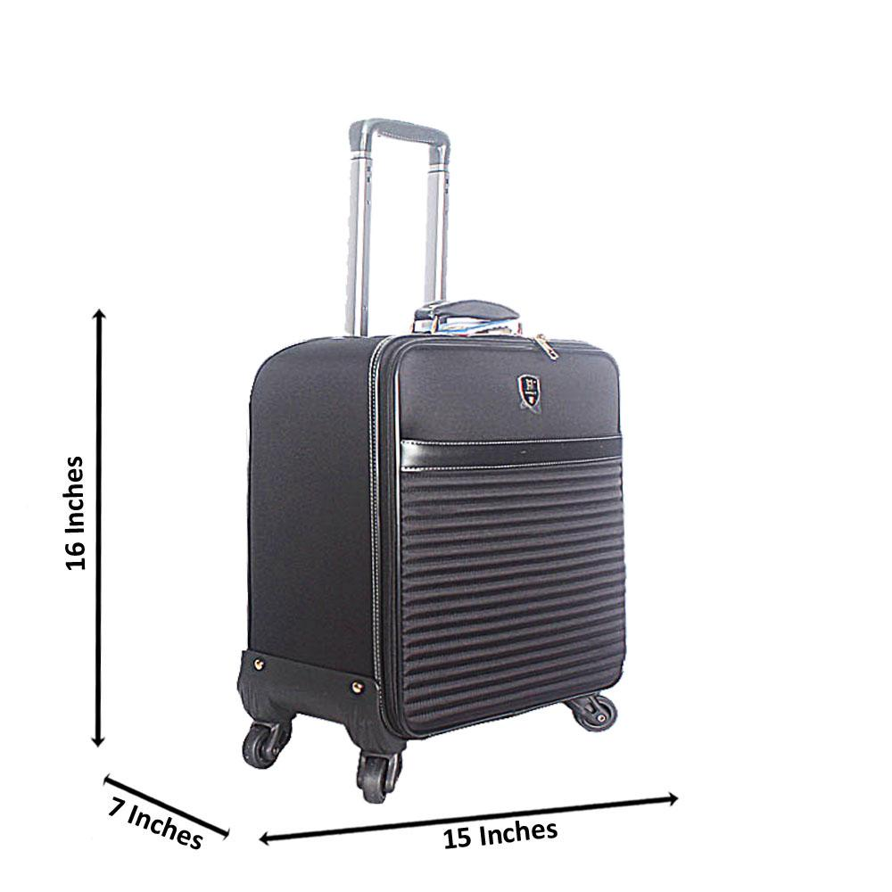 Black 16 Inch Fabric Leather Pilot Suitcase Wt Lock