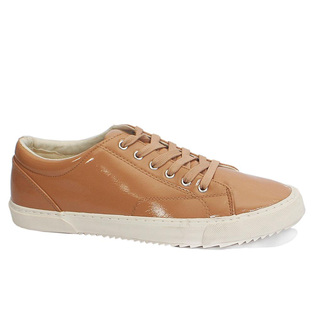 Beige Patent Leather Ladies Sneakers