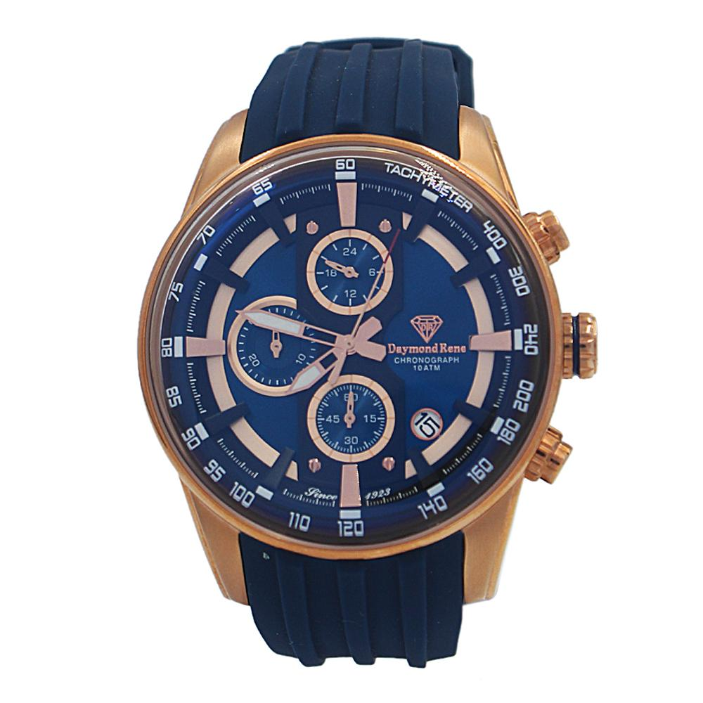 DR 5ATM Blue Rose Gold Rubber Chronograph Watch