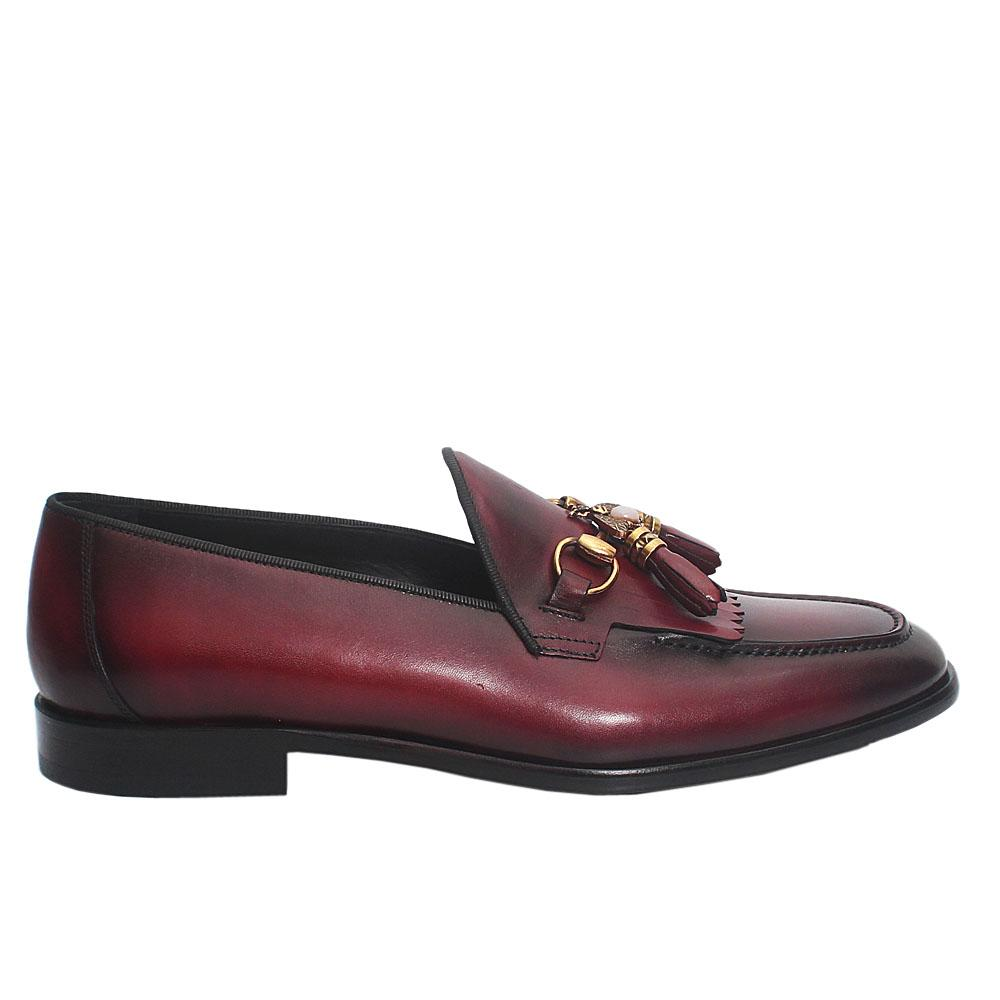 Burgundy Bee Tassel Italian Leather Loafers