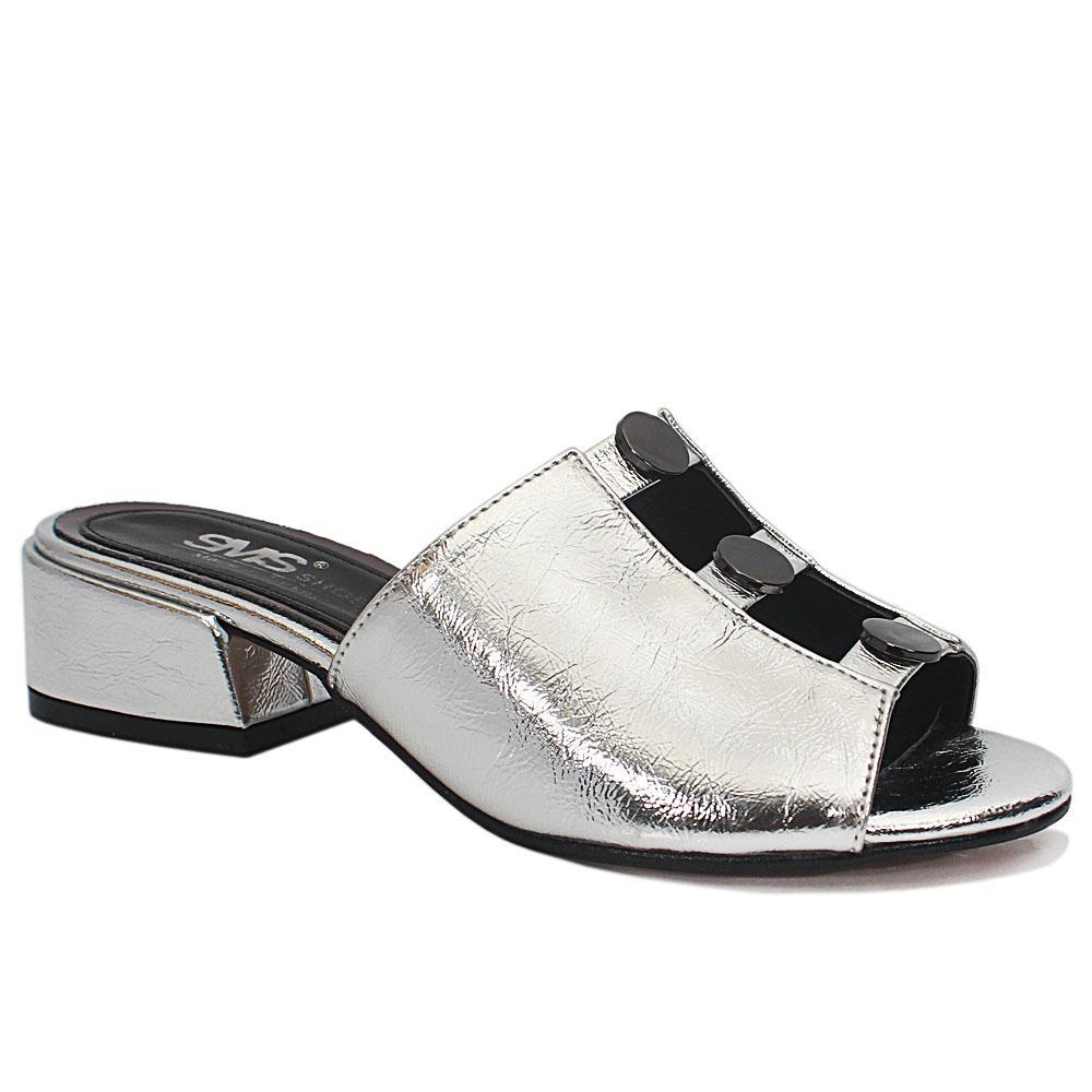Silver Open Toe Leather Low Heel Mule