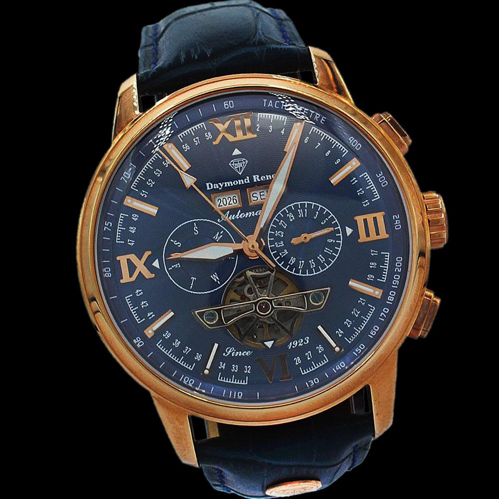 DR 3ATM Rose Gold Navy Leather Chronograph Automatic Watch