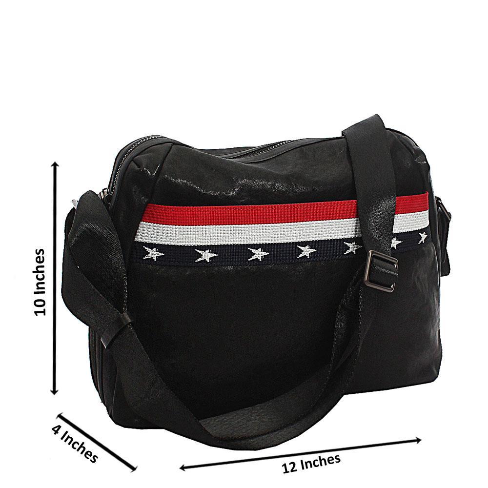 Black Cowhide Leather Messenger Bag
