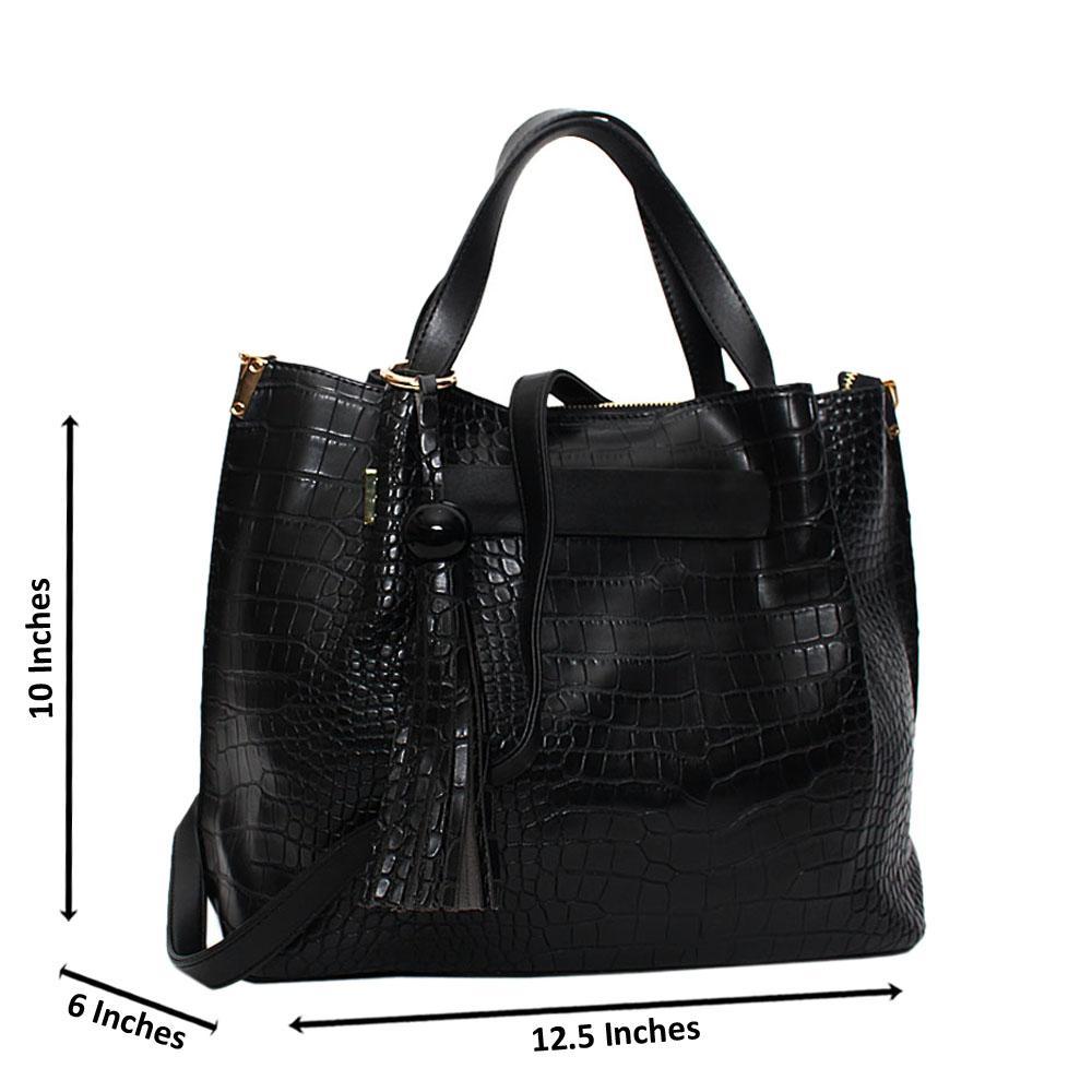 Black Amelle Croc Leather Medium Tote Handbag