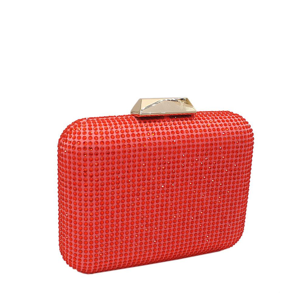 Red Nina Crystals Studded Clutch Purse