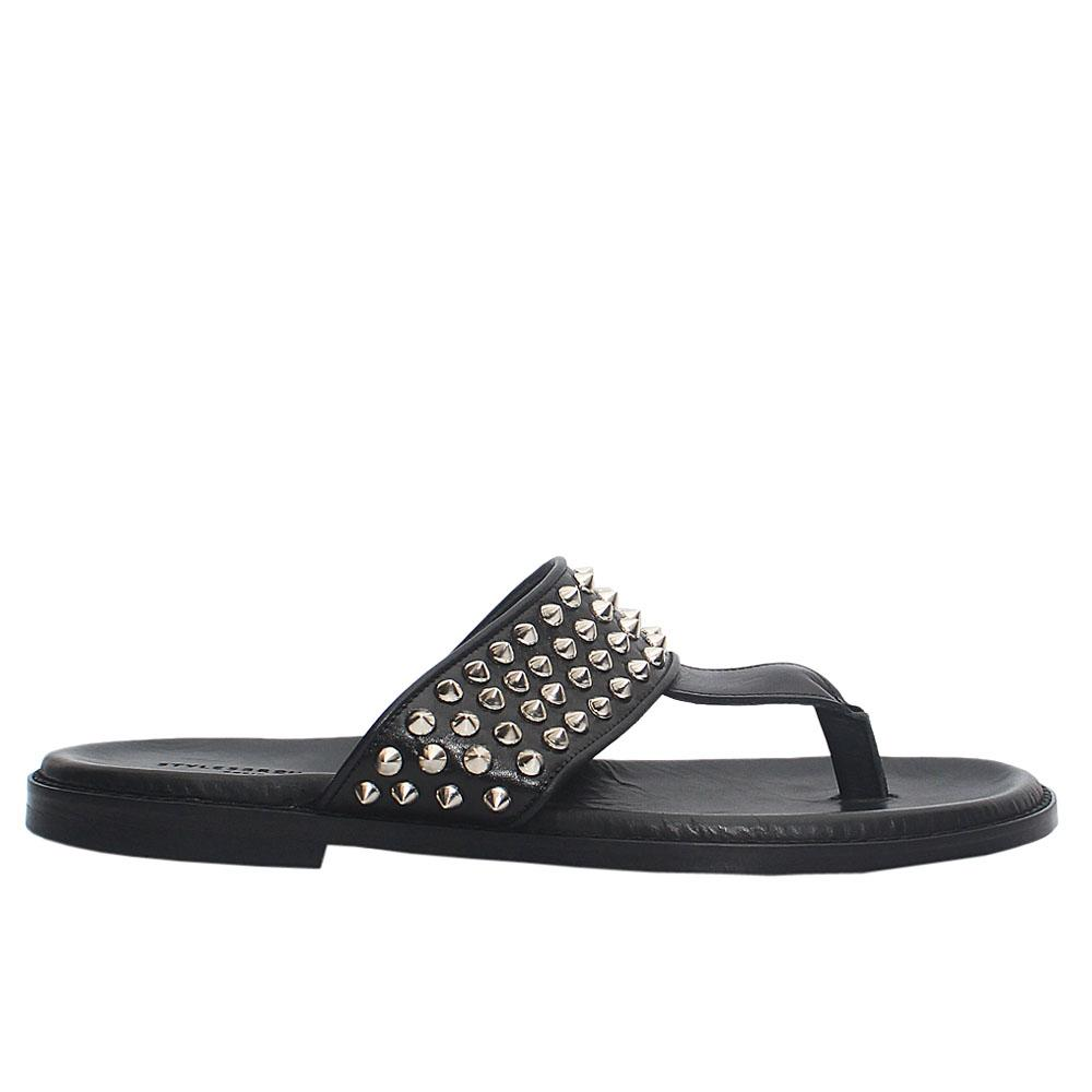 Black Troklu Studded Italian Leather Men Slippers