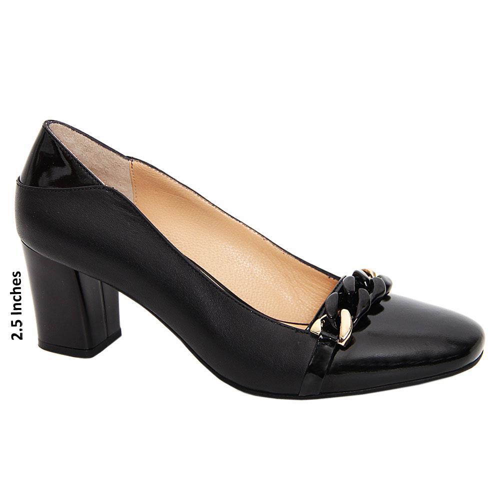 Black Fia Mix Patent Leather Mid Heel Pumps