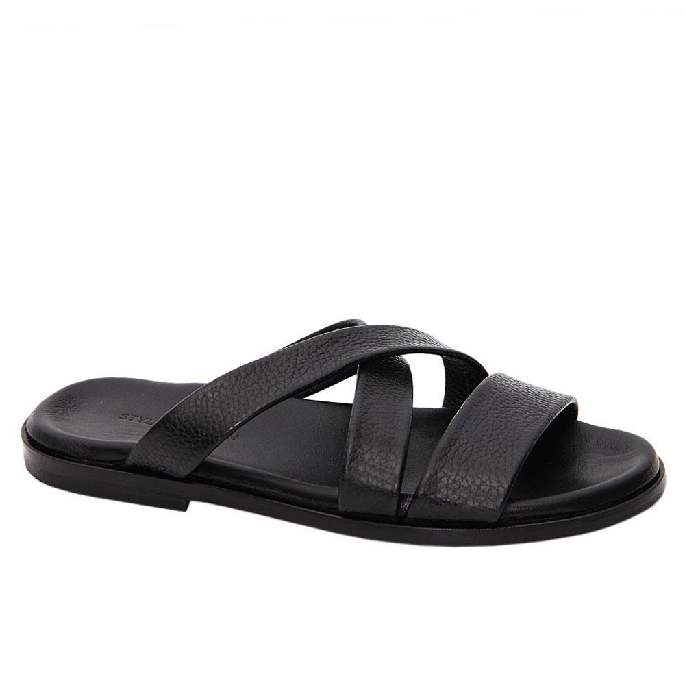Black Emiliano Crossover Italian Leather Slippers