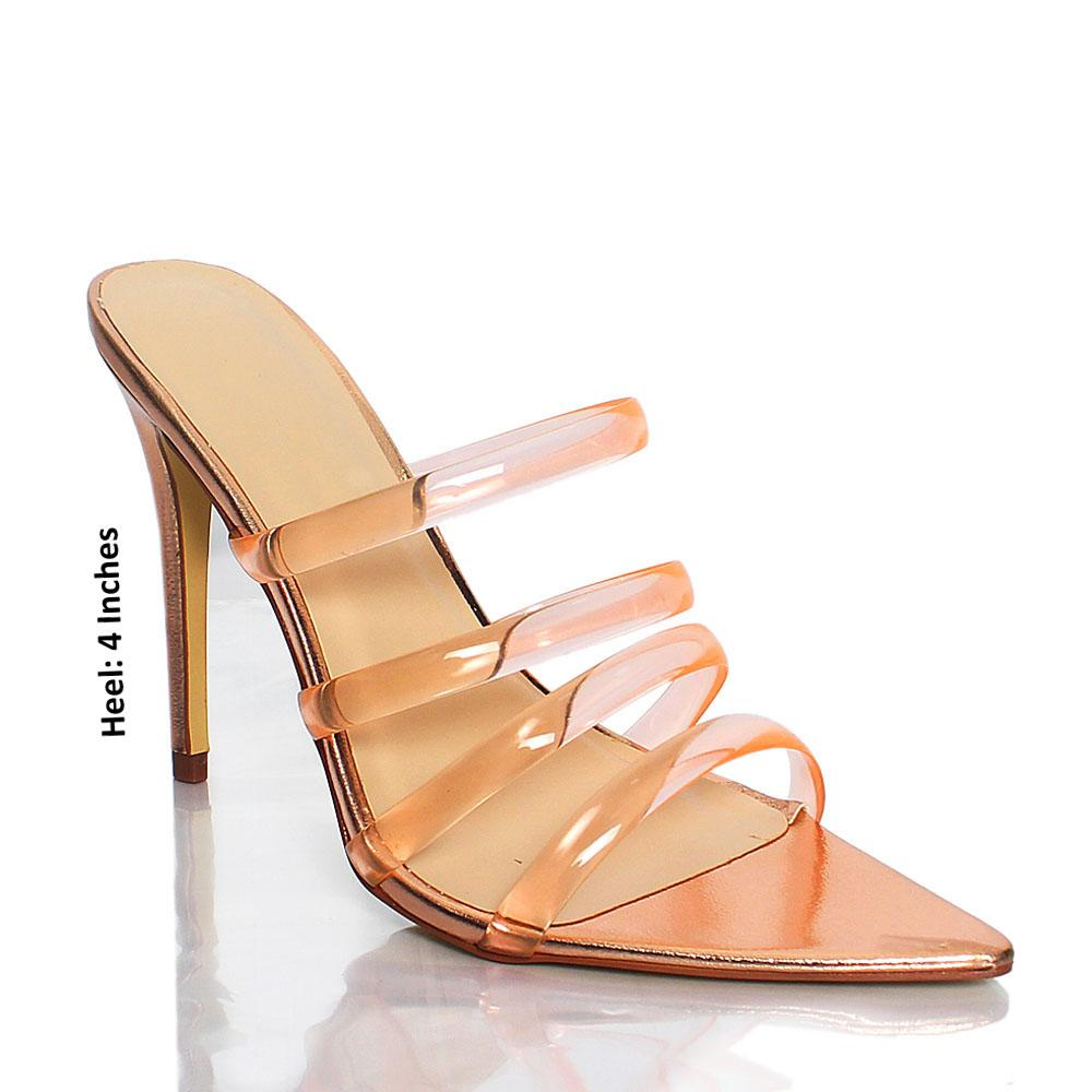 Rose Gold AM Diane Rubber Top Leather High Heel Mule