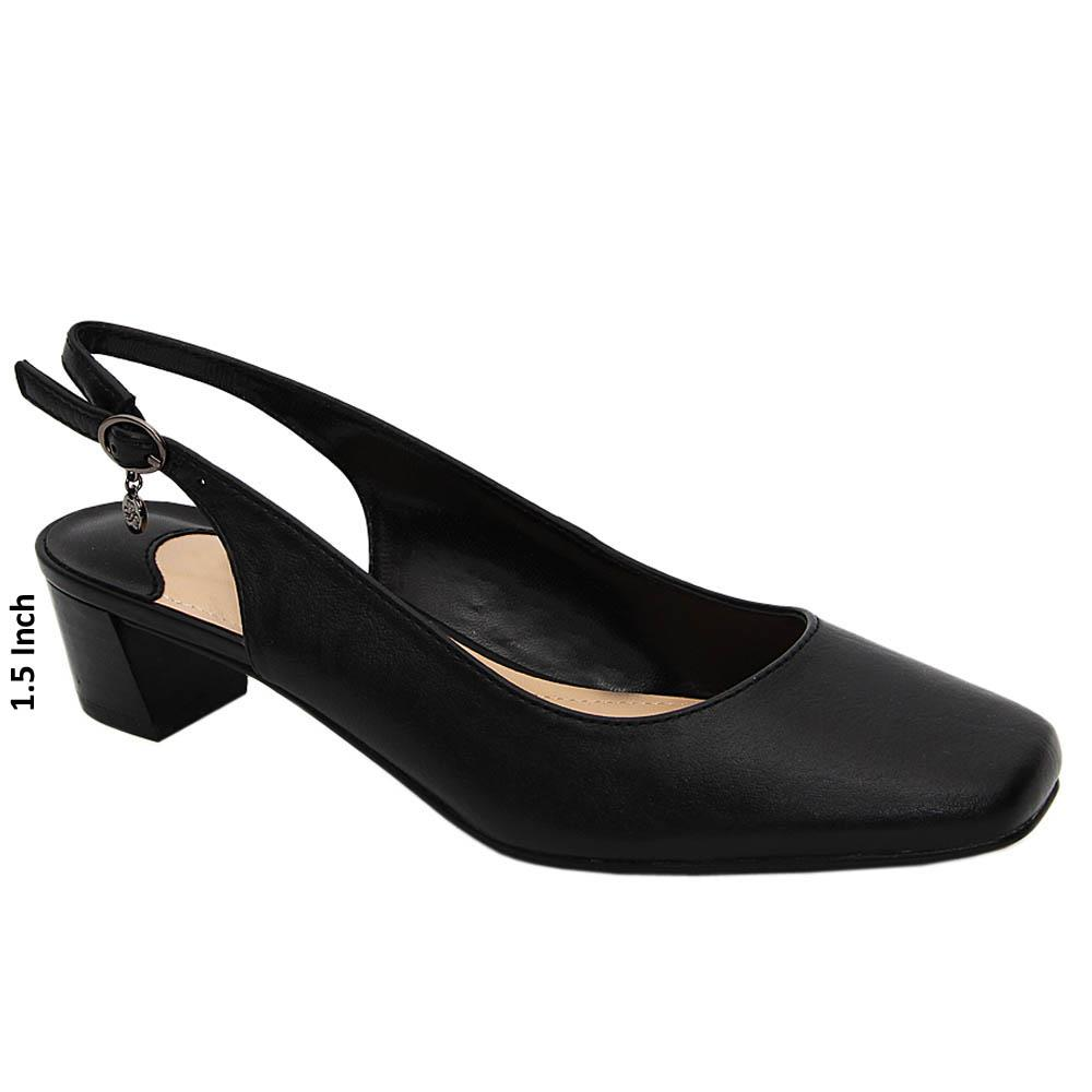 Black Alice Leather Low Heel Slingback Pumps