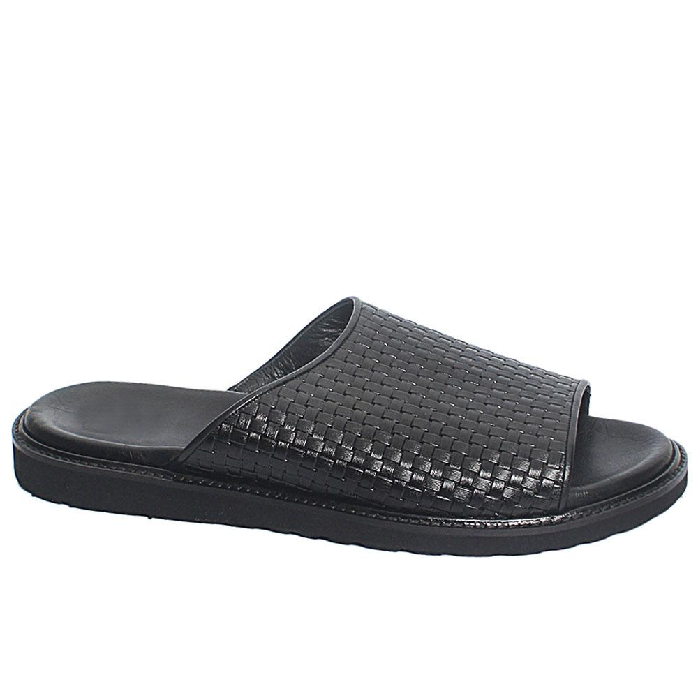 Black Tieri Woven Style Leather Men Slippers