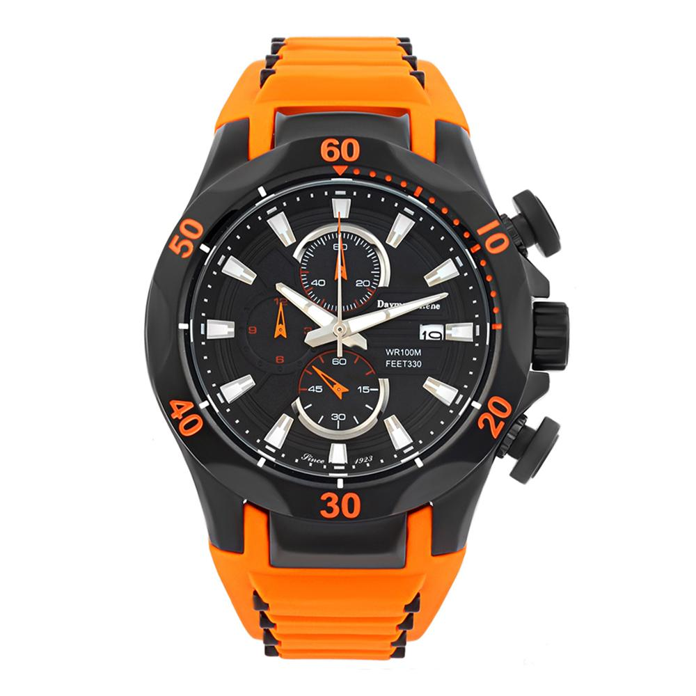 Orange Black Rubber Chronograph Watch