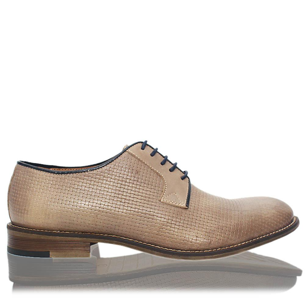 Khaki Leandro Italia Leather Men Derby Shoes