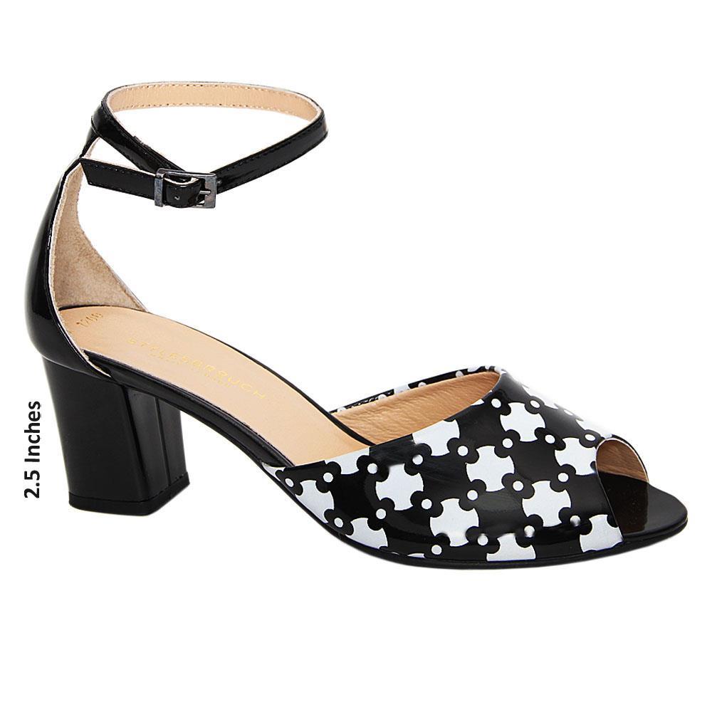 Black White Sydney Patent Tuscany Leather Mid Peep Toe Sandals