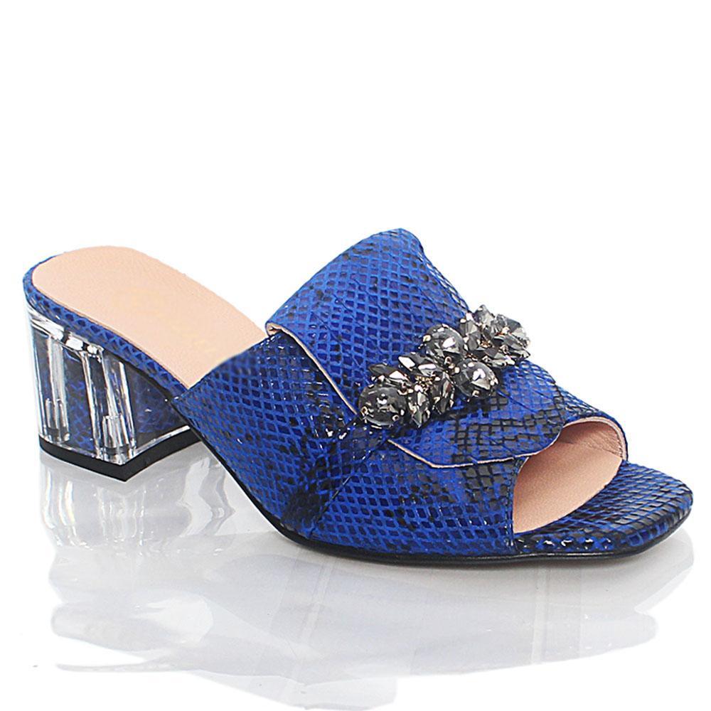 Blue Nelle Italian Leather Mule Slippers