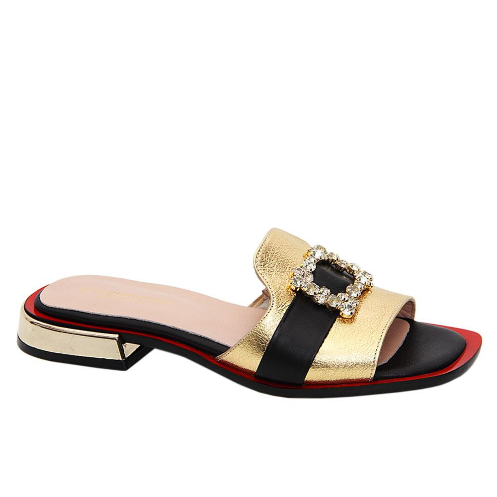 Gold Natalia Tuscany Leather Low Heel Slippers