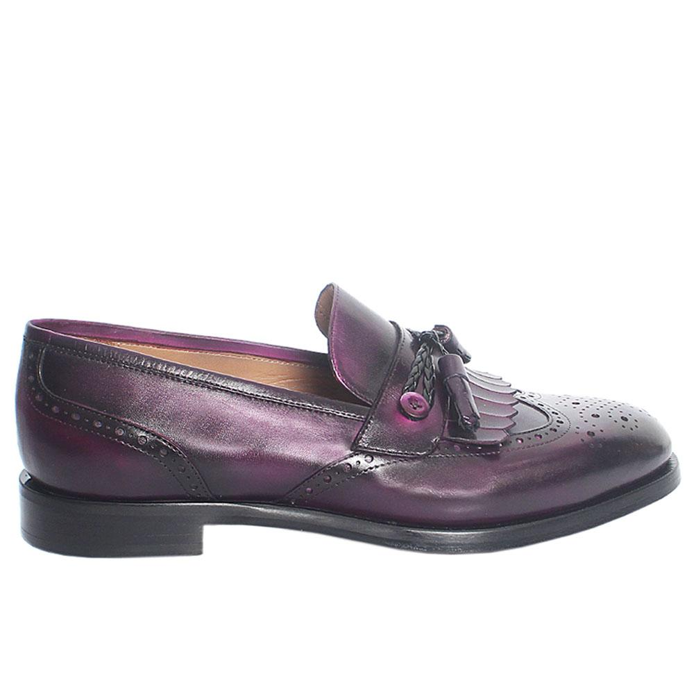 Purple Guido Fringe Italian Leather Loafers