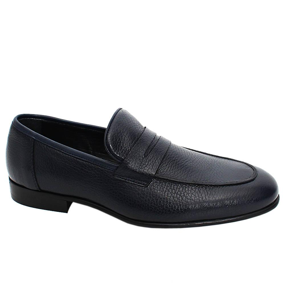 Dark Navy Logan Leather Men Penny Loafers
