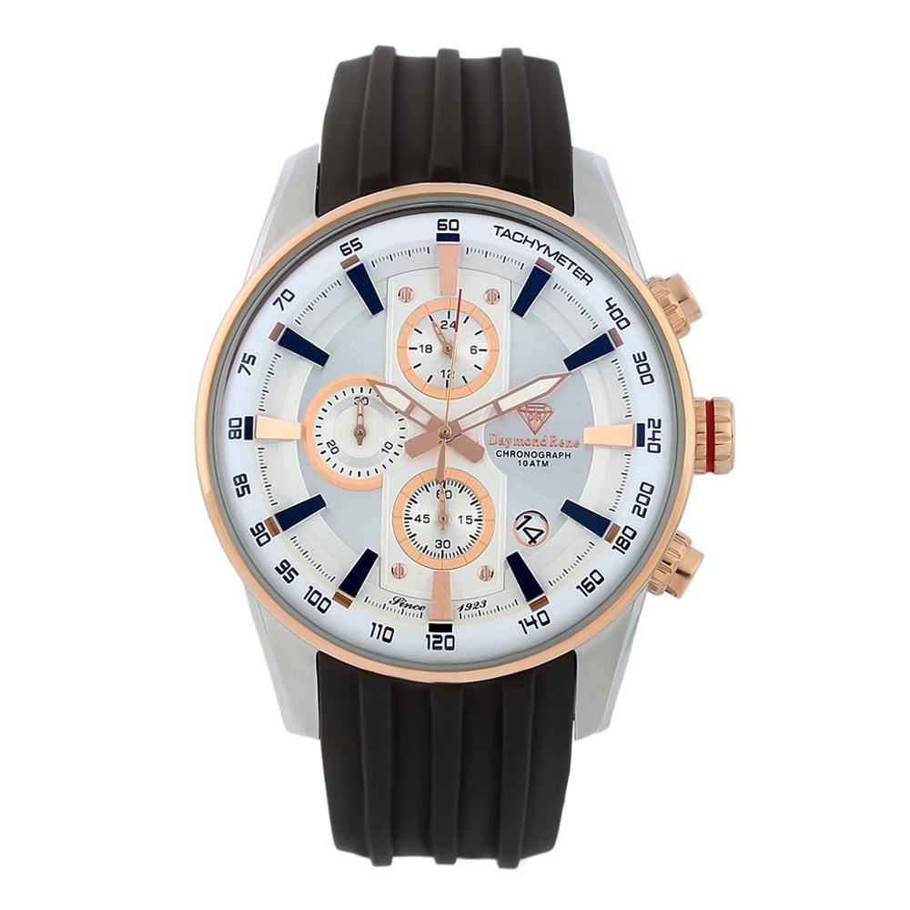 Black Silver Rubber Chronograph Watch