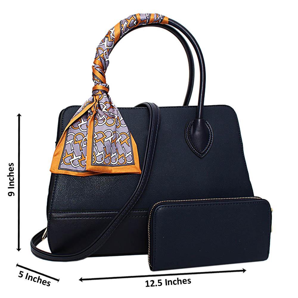 Navy Brenda Leather Medium Tote Handbag