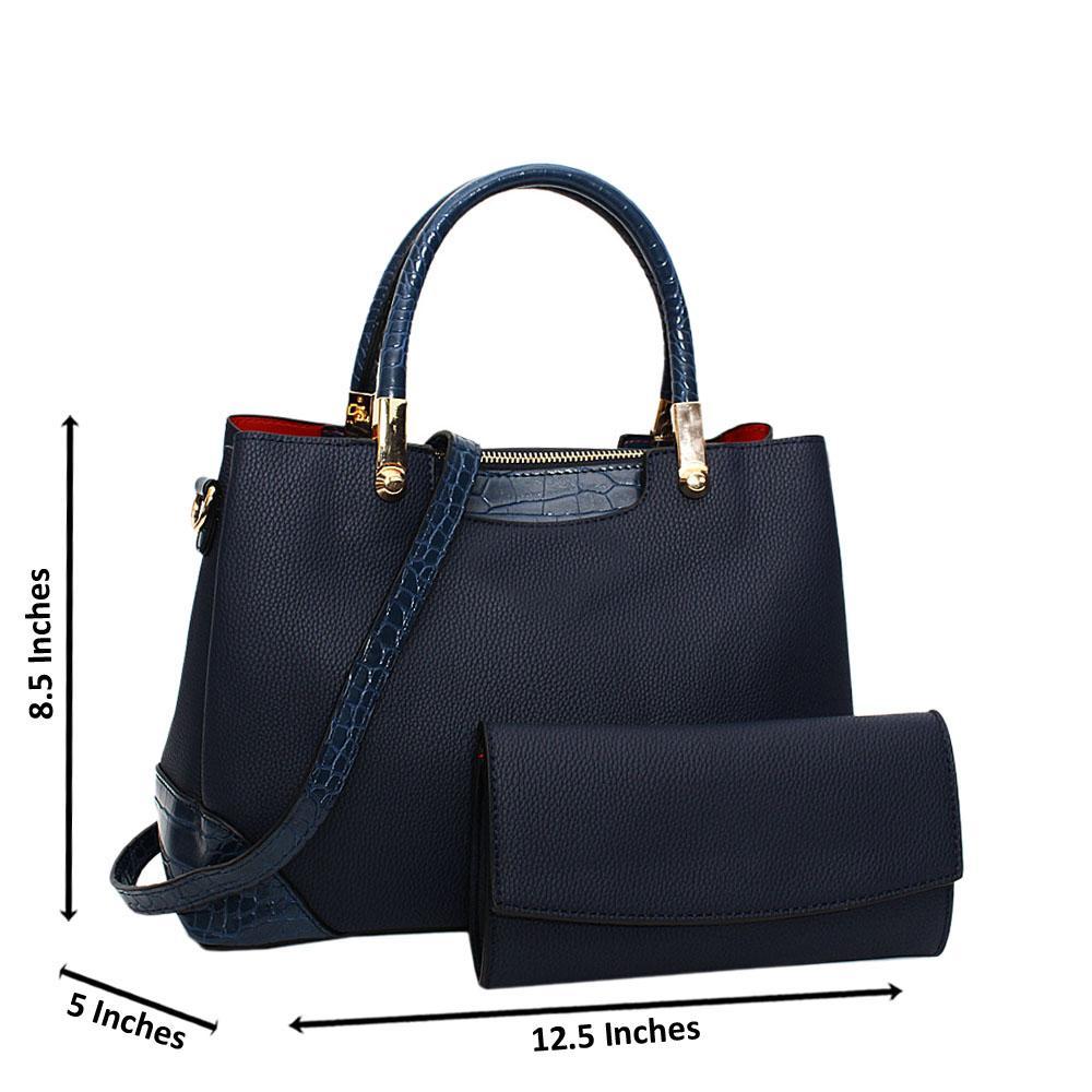 Navy Soraya Leather Medium Tote Handbag