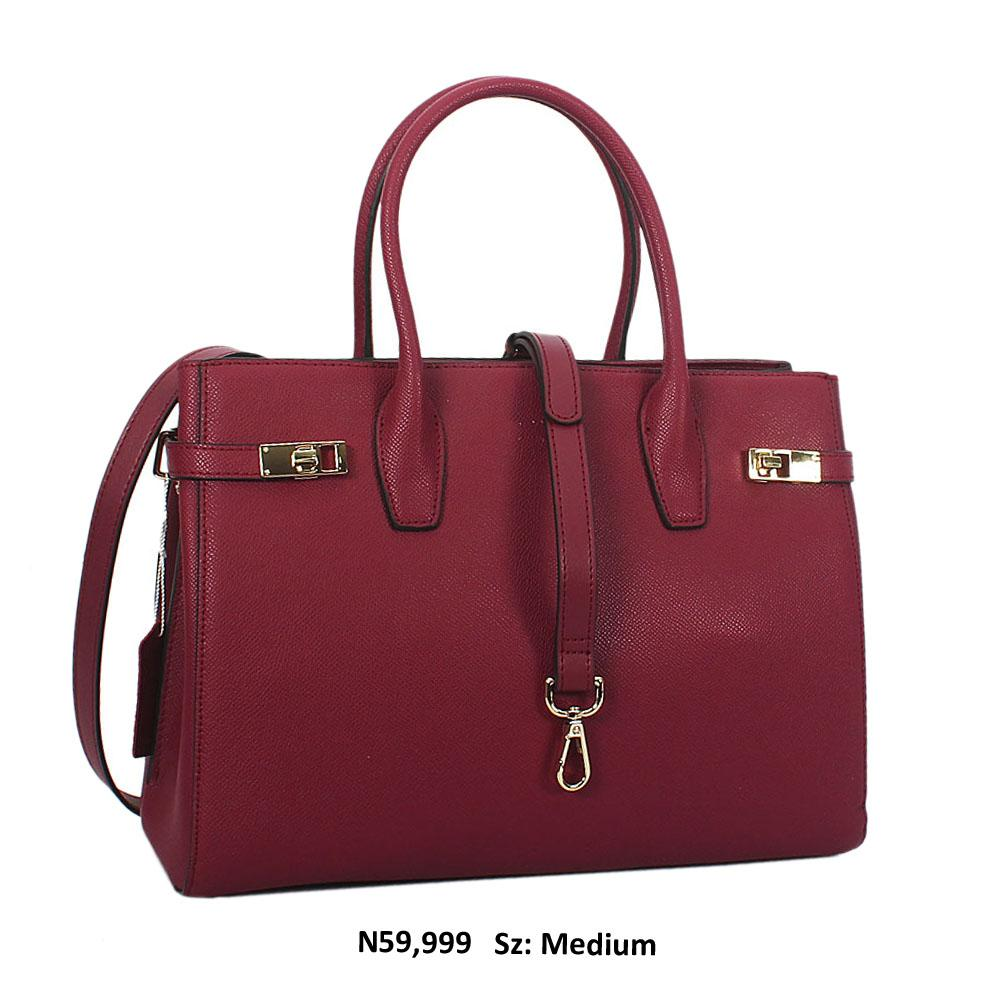 Nancy Burgundy Cowhide Leather Tote Handbag