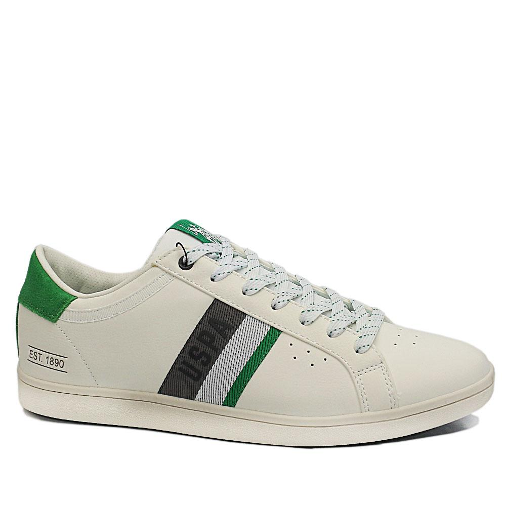 White Green Icon Leather Breathable Sneakers