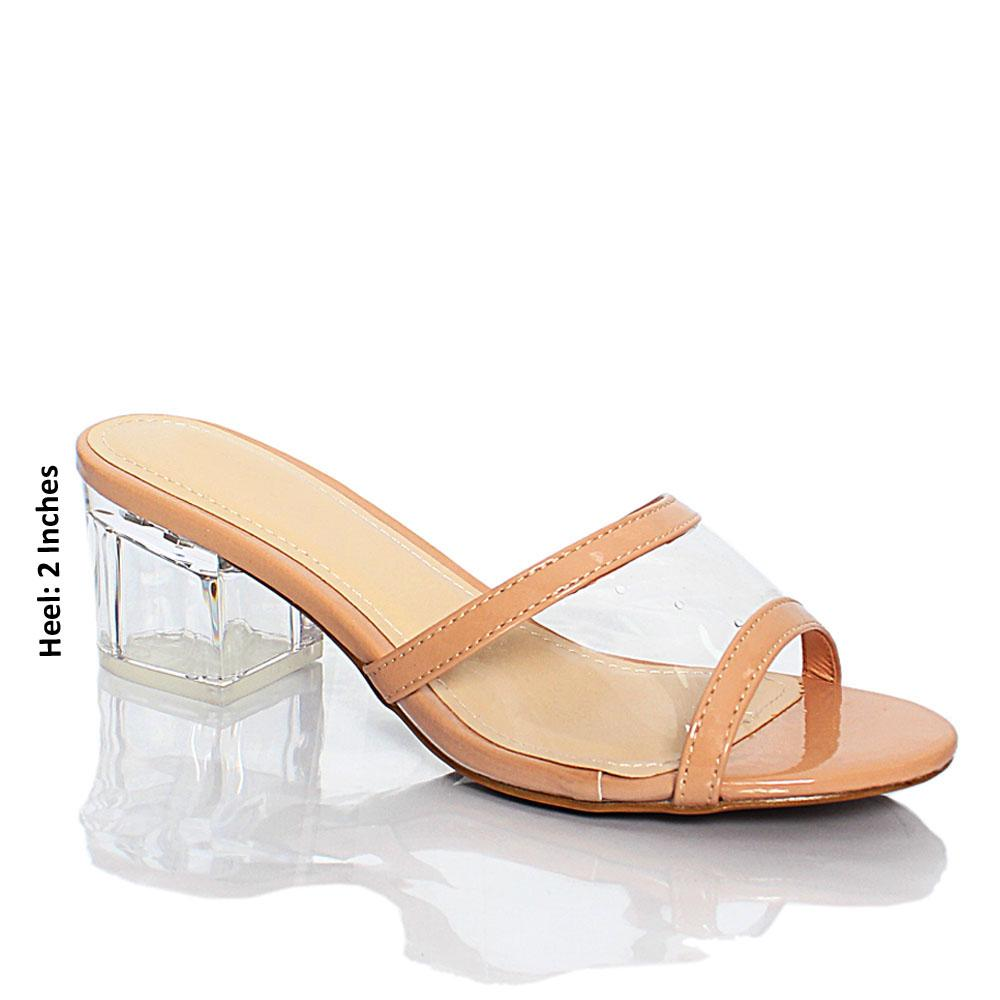 Beige Transparent Rubber Leather Block Heel Mule