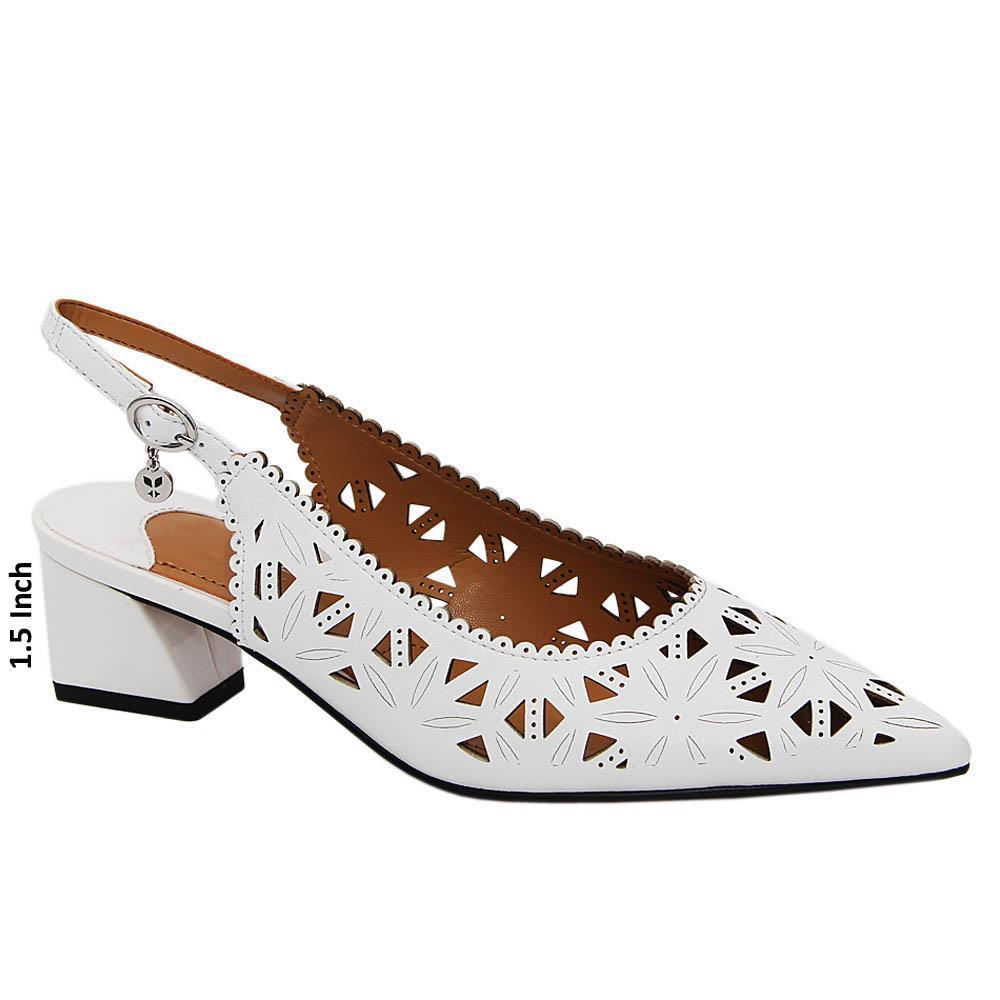 White Gianna Leather Low Heel Slingback Pumps