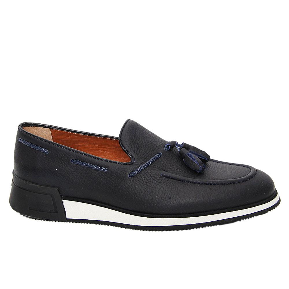 Navy Max Albert Leather Tassel Slip-On Sneakers