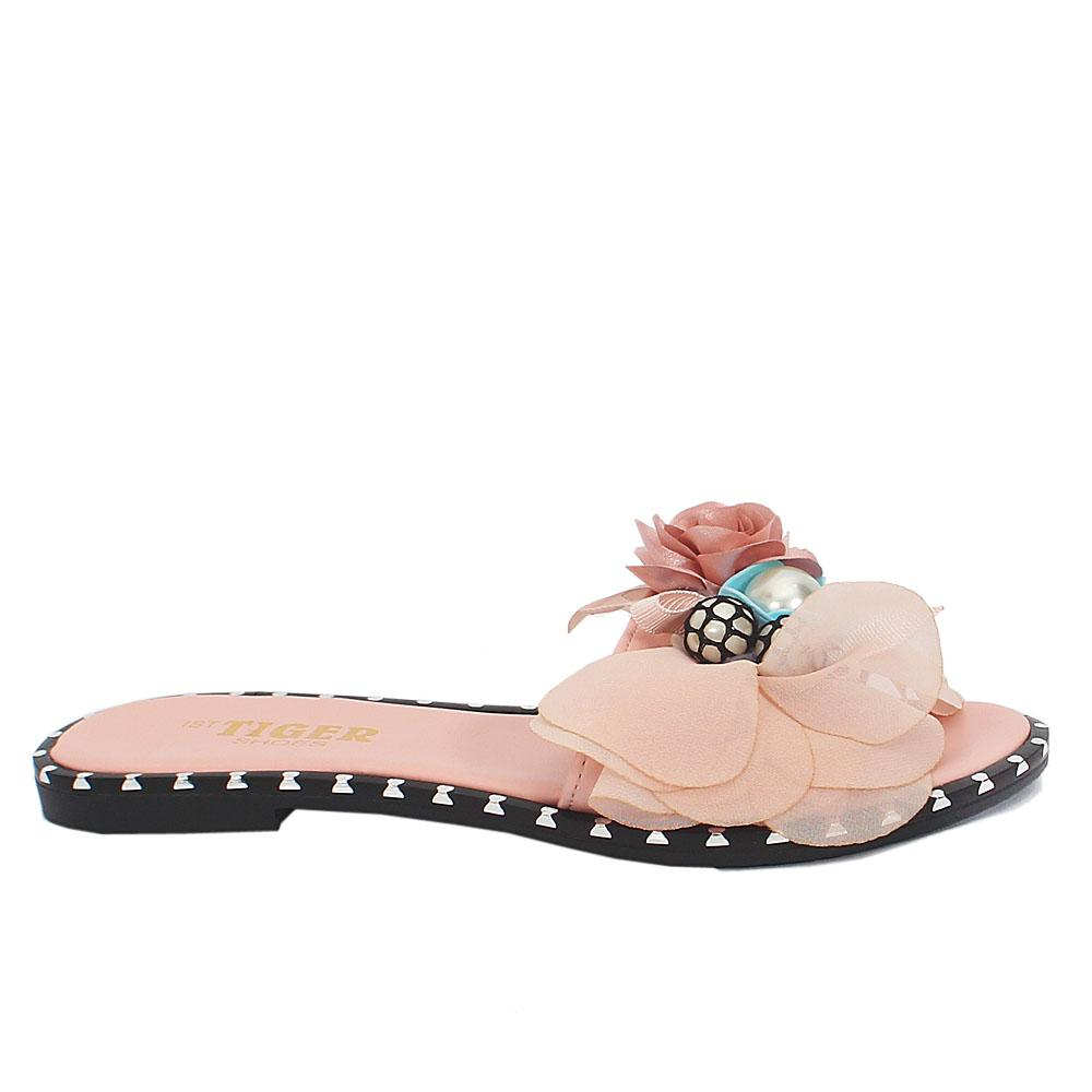 Pink-Leather-Flat-Ladies-Slippers