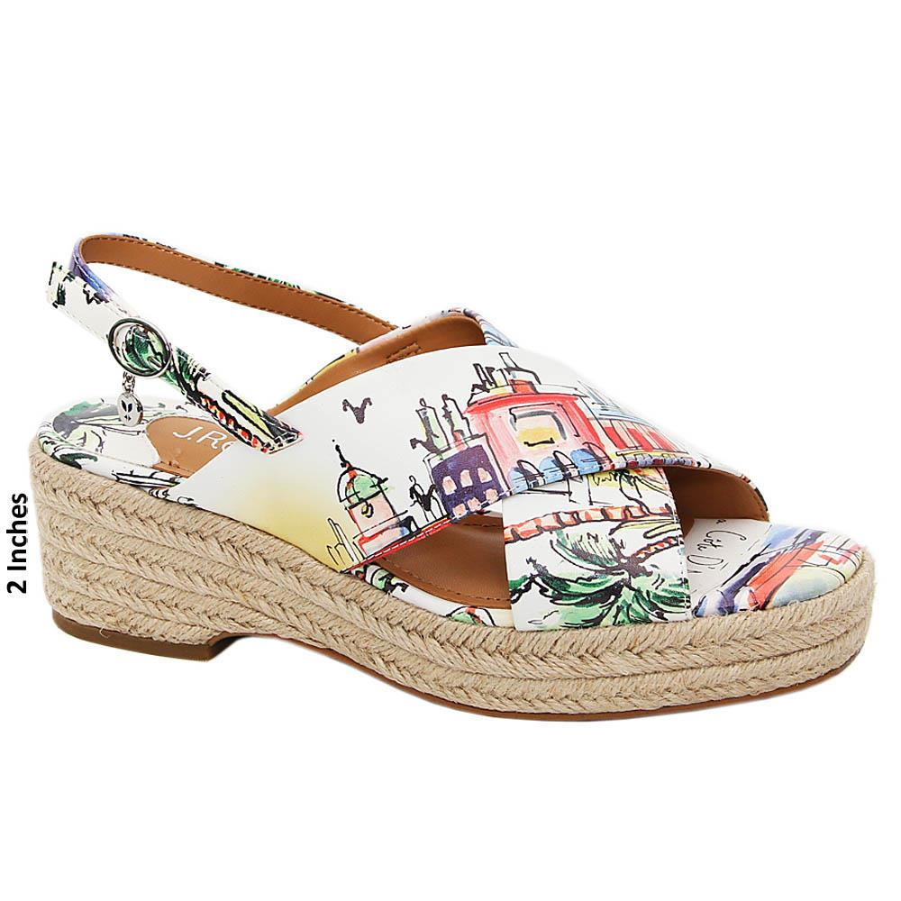 White Cora Graphic Print Leather Wedge Sandals