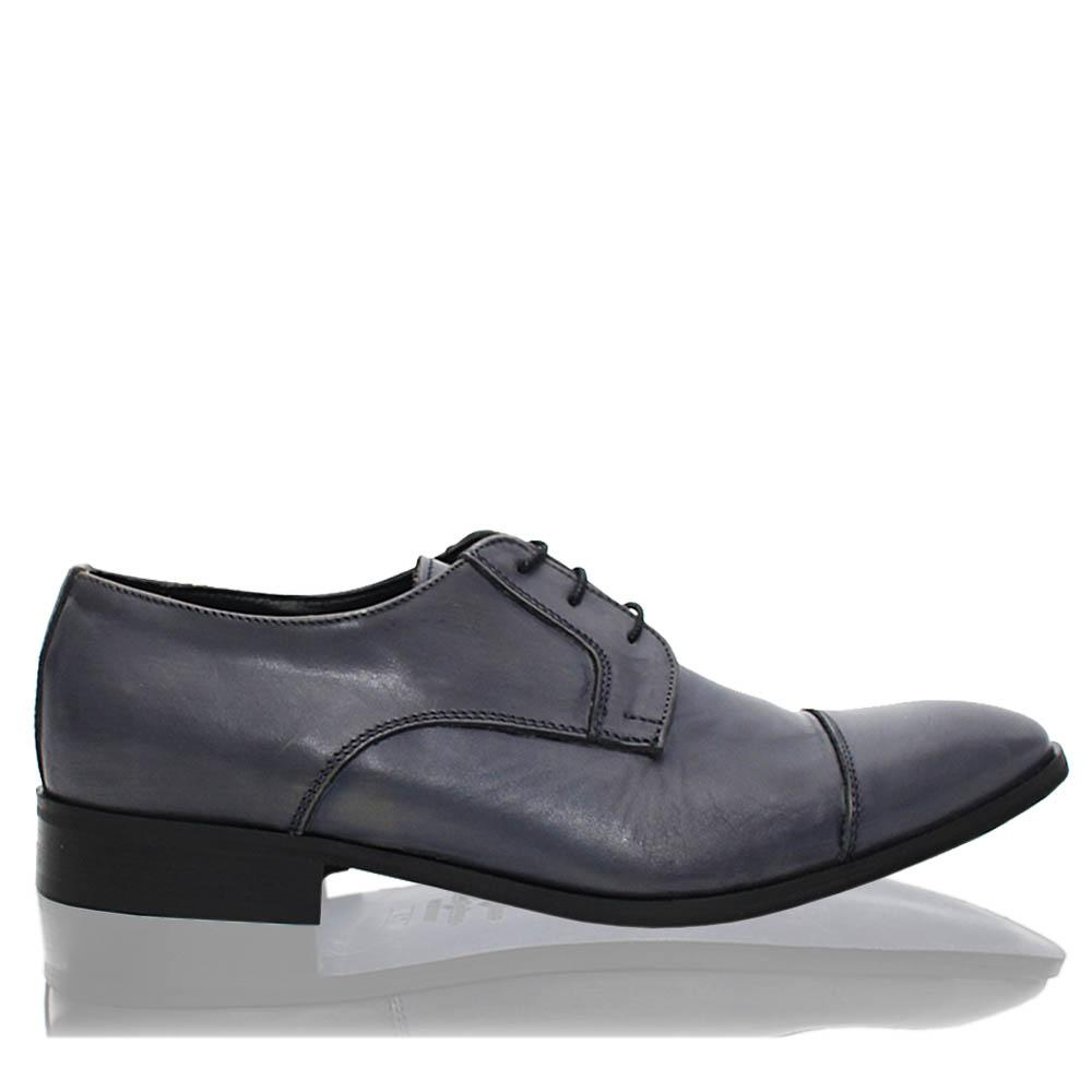 Bluish Gray Marcel Italia Leather Men Derby Shoes
