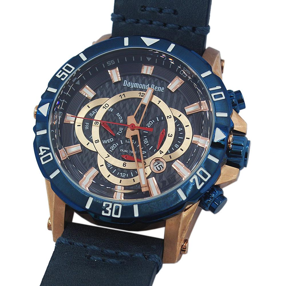 DR 10ATM Rose Gold Blue Leather Chronograph Watch