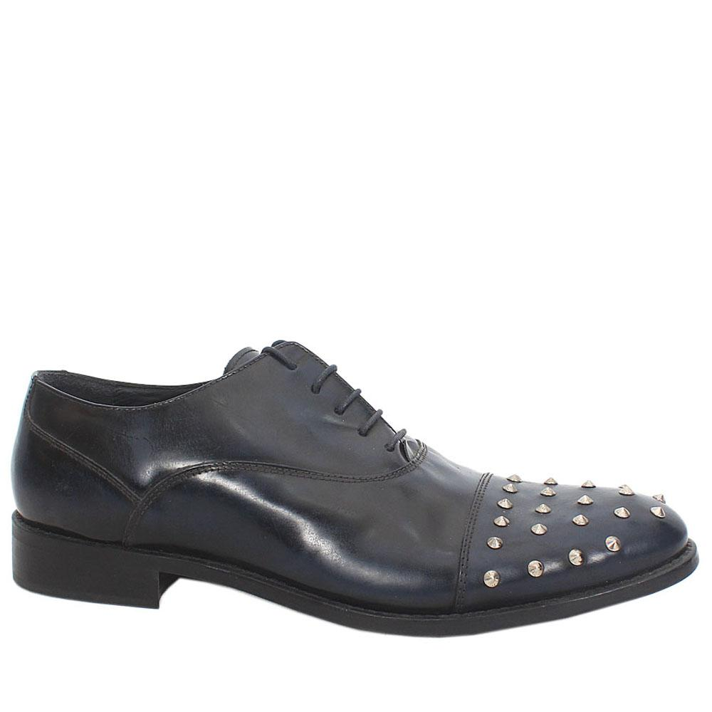 Blue Black Stone Leather Men Oxford Shoes