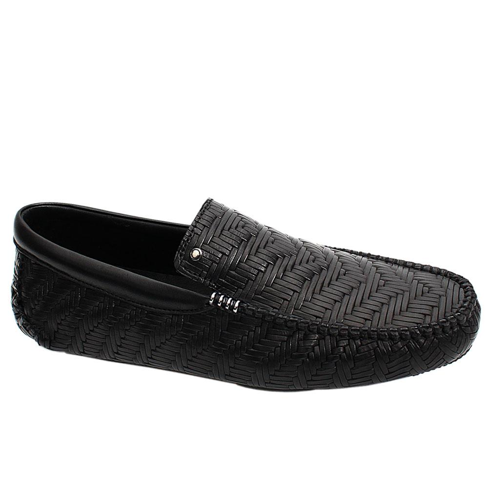 Black Antik Woven Styled Italian Leather Men Drivers Shoe