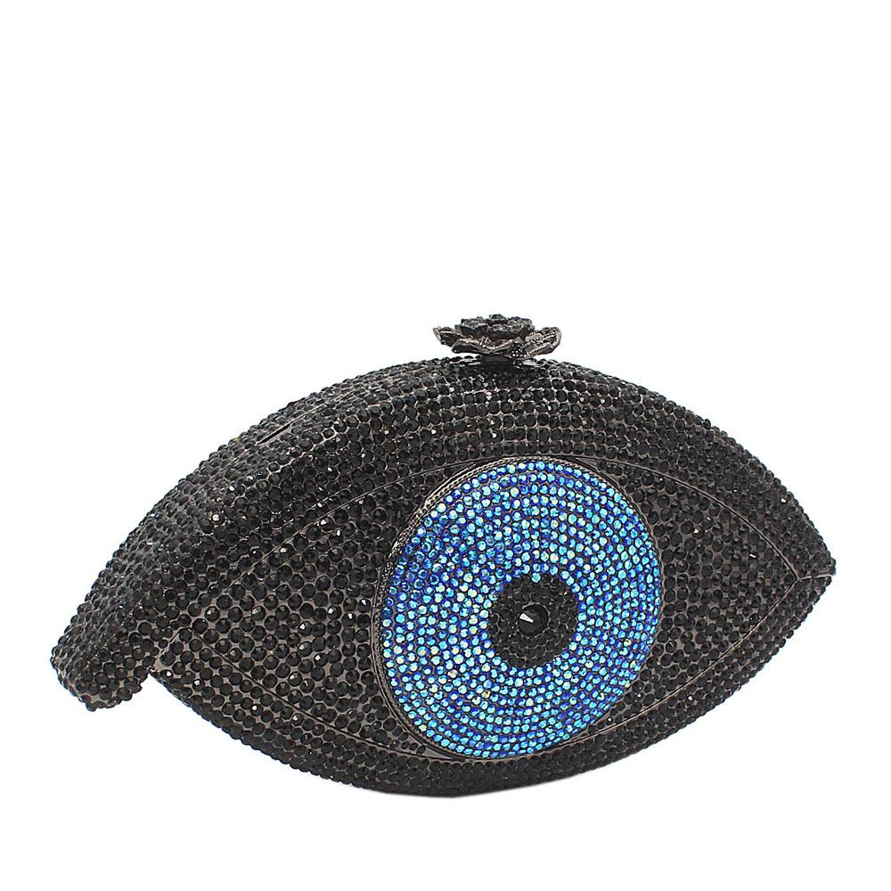 Black Blue Eye Ball Crystals Clutch Purse