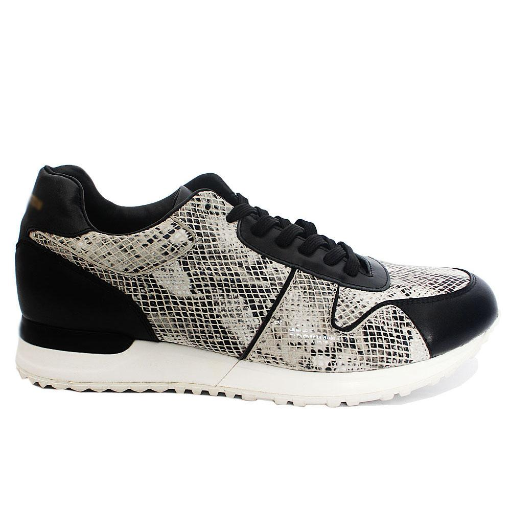 Jim Black White Snake Skin Leather Sneakers