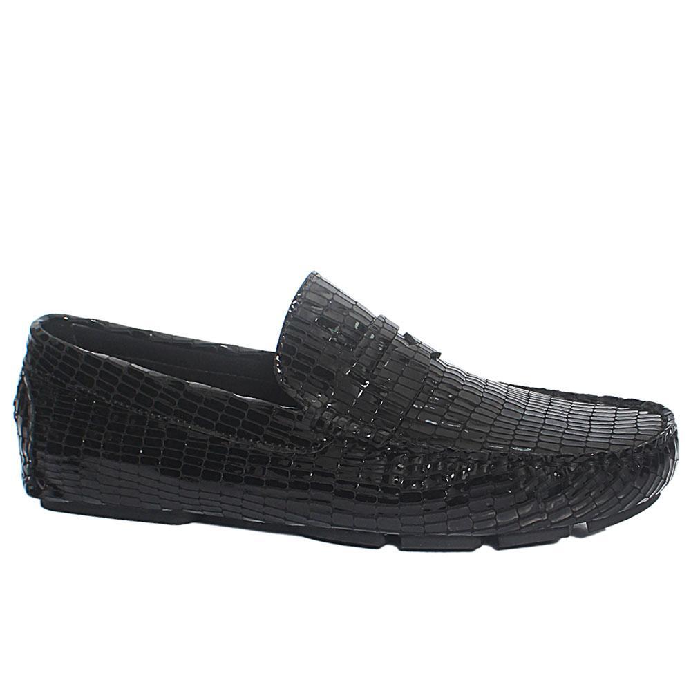 Black Roy Opaka Patent Leather Driver Shoe