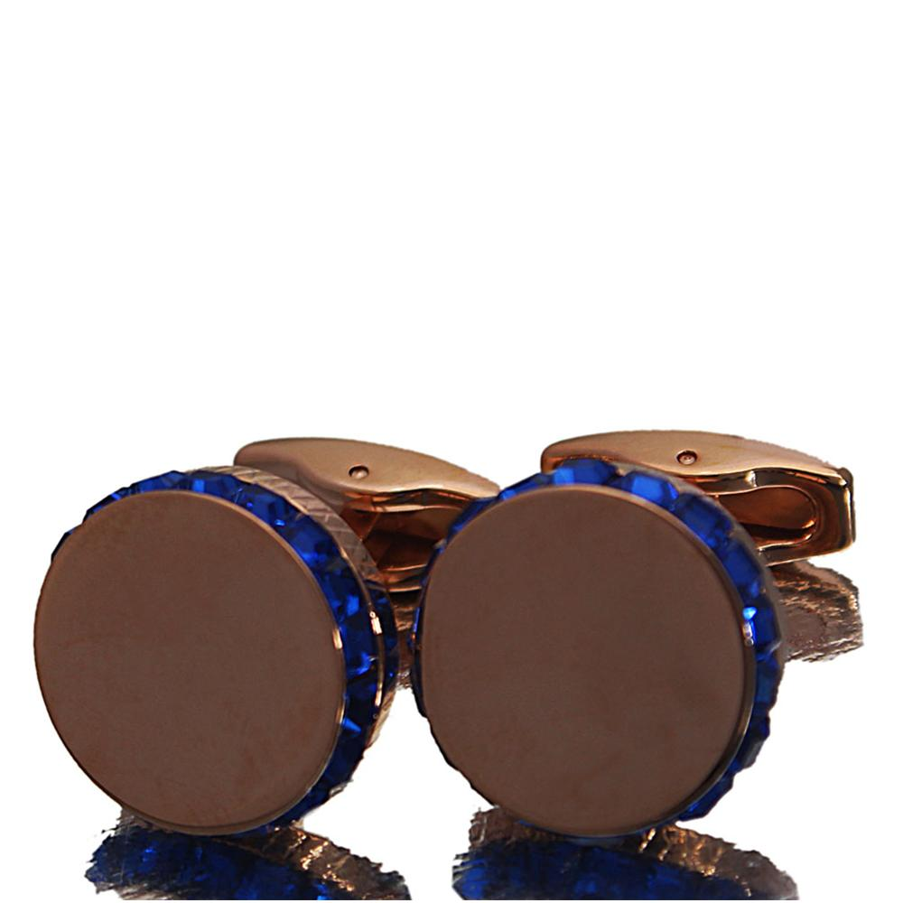 Staffordshire Rose Gold Blue Ice Stainless Steel Cufflinks