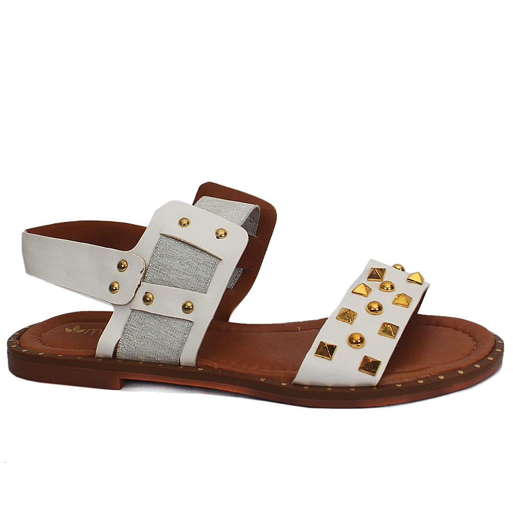 White Studded Leather Flat Sandals