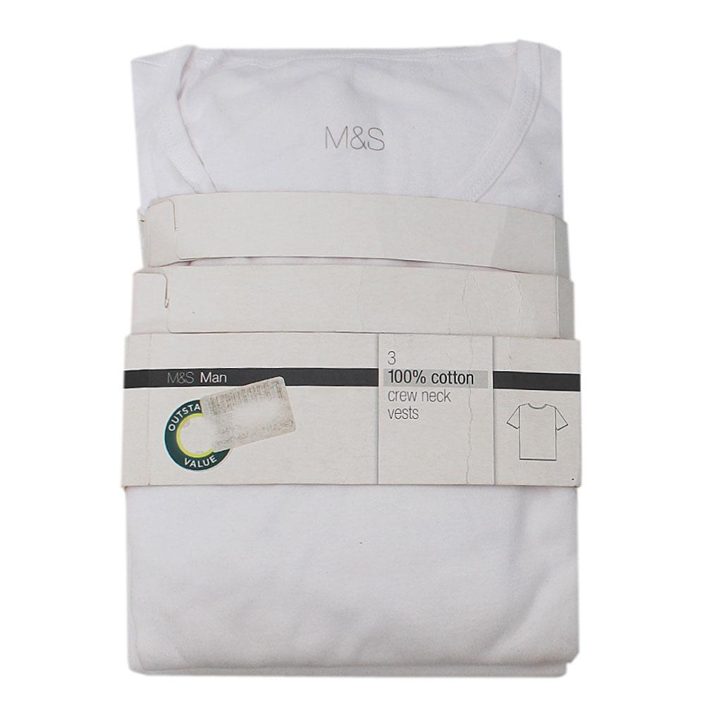 M&S White Sleeveless Men Underwear - 3 pairs XXL