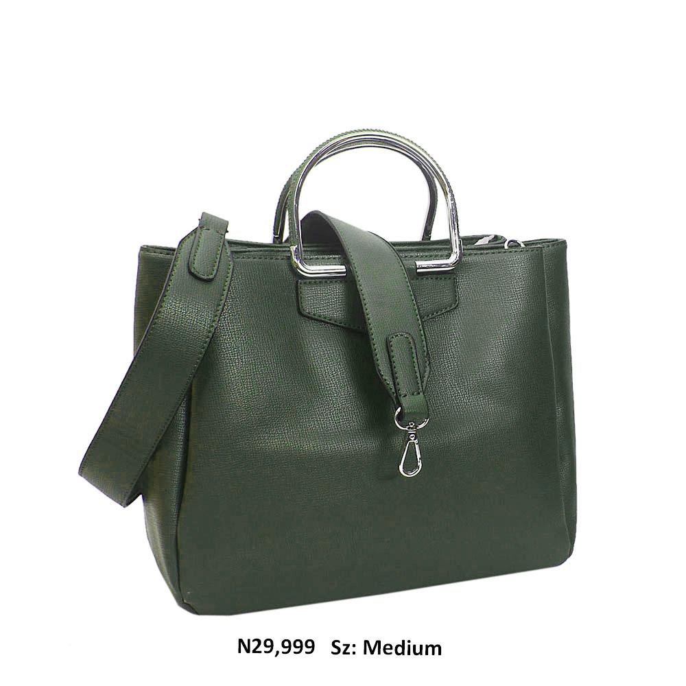 Army Green Enrica Leather Metallic Handle Tote Handbag