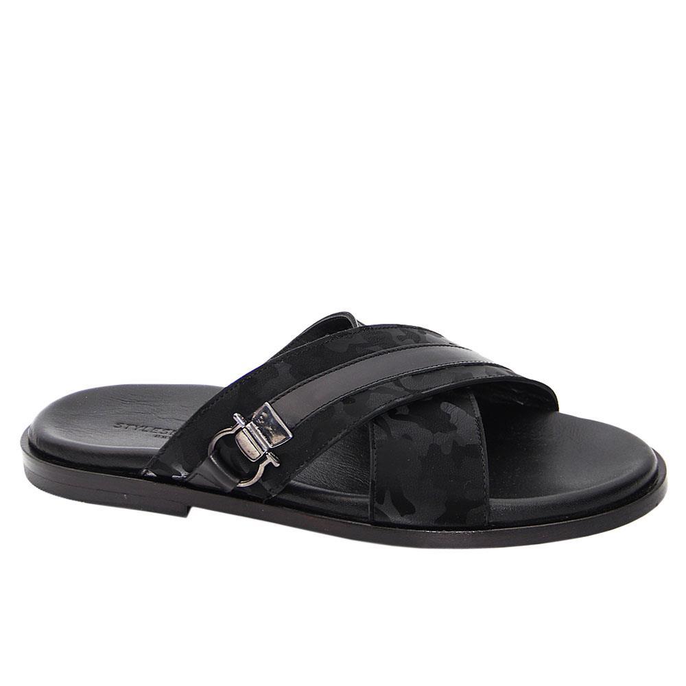 Black Camo Fredrico Italian Leather Slippers