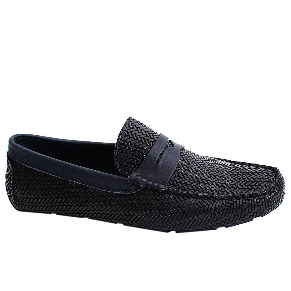 Navy Pasquino Italian Leather Men Drivers Shoe
